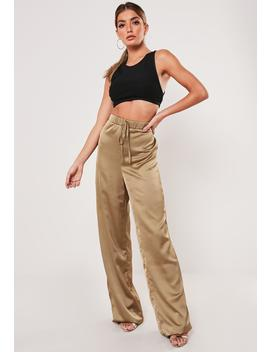 Tall Gold Satin Wide Leg Pants by Missguided