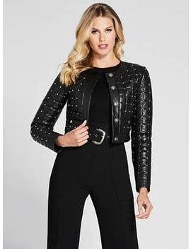 Studded Leather Quilted Jacket by Guess
