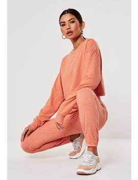Tall Pink Washed Crop Sweatshirt And Joggers Co Ord Set by Missguided