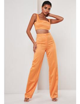Tall Orange Co Ord Satin Seam Detail Straight Leg Pants by Missguided