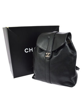 Authentic Chanel Cc Logos Backpack Bag Black Caviar Skin Leather Vintage N00557 by Chanel