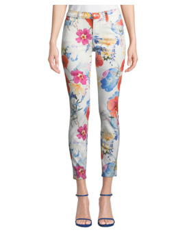 The Ankle Skinny Mid Rise Floral Print Jeans by 7 For All Mankind