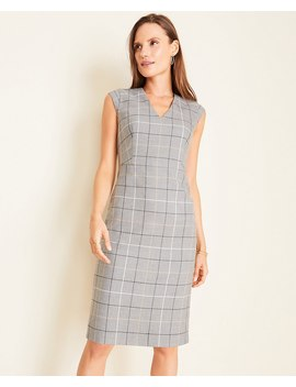 The V Neck Dress In Windowpane by Ann Taylor