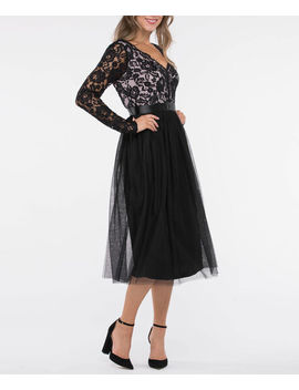 Long Sleeve Lace &Amp; Tulle Overlay Dress by Ricki's