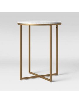 Dale Round White Marble Top End Table With Brass Base   Project 62™ by Project 62