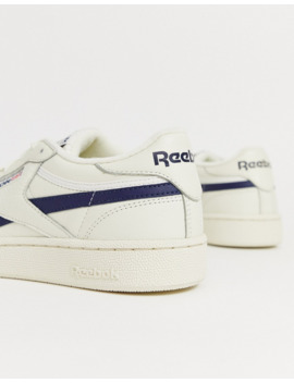 Reebok Revenge Plus Sneakers In Off White With Navy Stripe by Reebok's