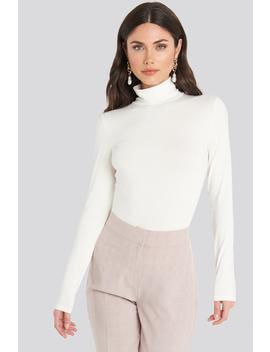 Viscose Long Sleeve Polo Top Vit by Na Kd Basic