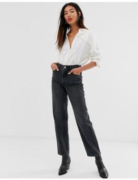 Selected Femme – Grå Jeans Med Hög Midja Och Raka Ben by Selected