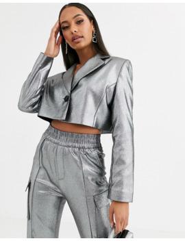 Asos Design Metallic Cropped Suit Blazer by Asos Design