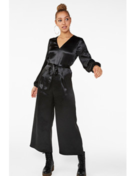 Belted Satin Jumpsuit by Monki
