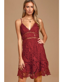 Dearly Beloved Burgundy Crochet Lace Dress by Lulus
