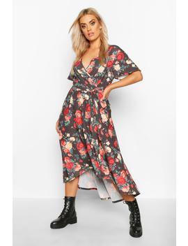 Plus Floral Wrap Midi Dress by Boohoo