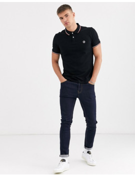 Pretty Green Tipped Polo In Black by Pretty Green