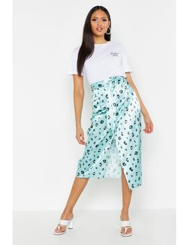 Tall Leopard Print Satin Wrap Midi Skirt by Boohoo