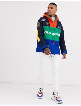 Ralph Lauren Sport Capsule Nylon Track Jacket In Navy/Orange by Polo Ralph Lauren