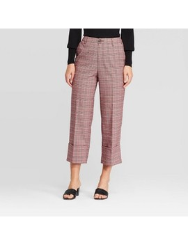 Women's Plaid Mid Rise Wide Leg Pants   Who What Wear™ Red by Who What Wear