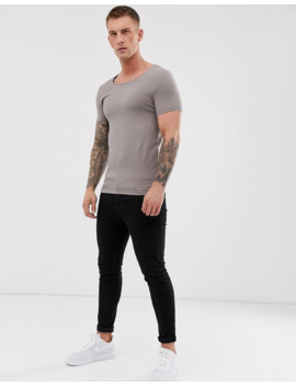 Asos Design Muscle Fit T Shirt With Scoop Neck In Beige by Asos Design