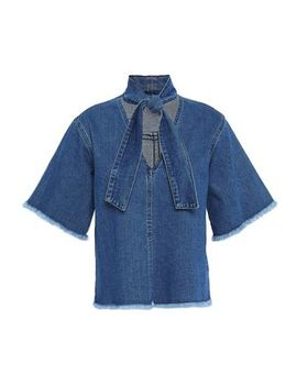 Tie Neck Frayed Denim Top by See By ChloÉ