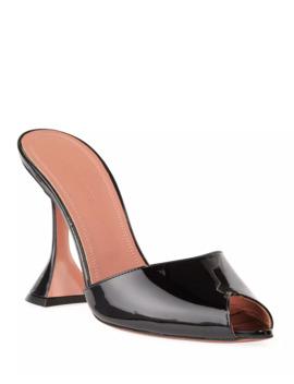 Tina Slide Patent Peep Toe Slippers by Amina Muaddi