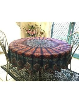 Round Table Cloth 190cm Diameter 100% Cotton Bohemian Rainbow by Handmade