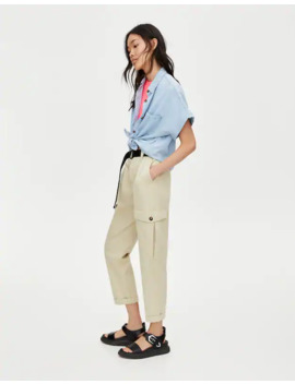 White Cargo Trousers by Pull & Bear