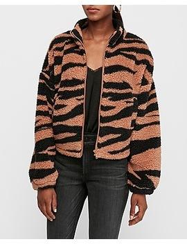Tiger Print Sherpa Full Zip Sweatshirt by Express