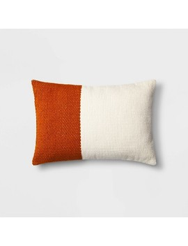 Lumbar Colorblock Pillow Cream/Orange   Project 62™ by Shop Collections