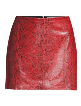 Elana Snakeskin Print Leather Mini Skirt by Alice + Olivia
