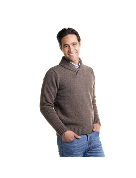 Wool Shawl Collar Sweaters   Brown by Peter Manning