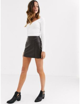 Pull&Amp;Bear Faux Leather Mini Skirt With Pockets In Chocolate by Pull&Bear