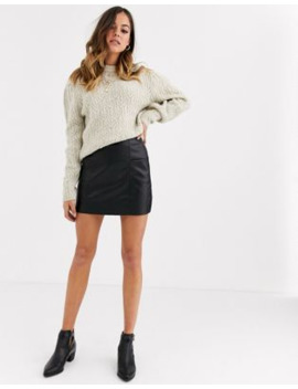 Pull&Amp;Bear Pu Mini Skirt With Pockets In Black by Pull&Bear