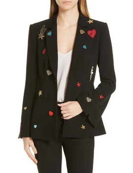 Rumi Embellished Patch Blazer by Cinq À Sept