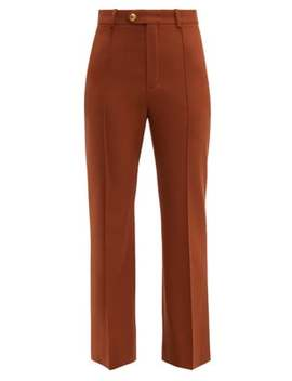 High Rise Cropped Wool Blend Trousers by Chloé
