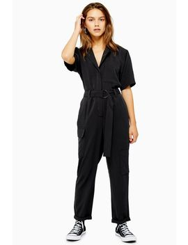Petite Washed Black Boiler Suit by Topshop