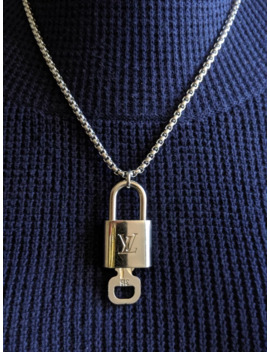 Louis Vuitton Silver Padlock Lock Key On Necklace Bracelet by Louis Vuitton  ×