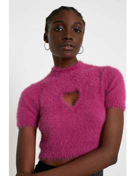Uo Fluffy Heart Cut Out Top by Urban Outfitters