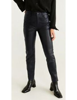 Ladies Real Leather Trousers. Size S, Rrp 150£ Mango , Mng by Ebay Seller