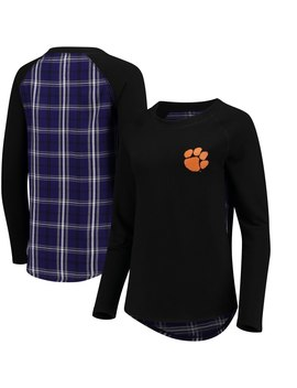 Clemson Tigers Women's Team Player Plaid Back Long Sleeve T Shirt   Black by Boxercraft