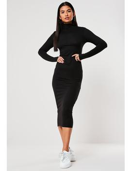 Black Basic Jersey Roll Neck Midi Dress by Missguided