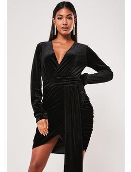 Tall Black Velvet Ruched Drape Mini Dress by Missguided