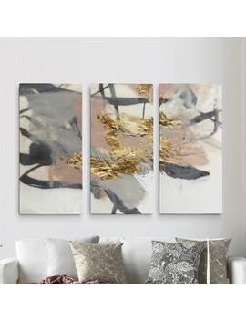 A Premium 'golden Blush Ii' Print Multi Piece Image On Canvas by Mercer41