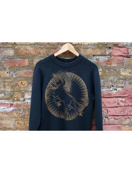 Vintage 90s Unicorn Sweatshirt | Black Gold Design Pullover Astrology Sweater | Mythological Space Inspired Sweater by Etsy