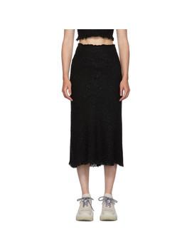 Black Frayed Tweed Midi Skirt by Alexander Wang