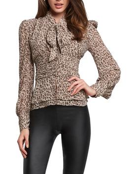 Leopard Print Tie Neck Blouse by Bardot