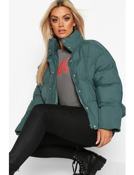 Plus Funnel Neck Cropped Puffer Jacket by Boohoo