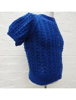 Cardigan Womens Vintage Cable Aran Handknit Granny Wool Top Winter Clothing 80s Ooak Blue Rustic Knit. by Etsy