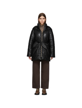Black Vegan Leather Lenox Jacket by Nanushka