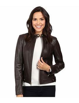 Leather Racer Jacket With Quilted Panels by Cole Haan