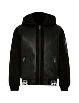 Boys Black Faux Leather Hooded Bomber Jacket by River Island