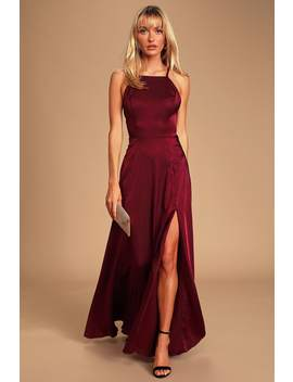 Total Beauty Burgundy Satin Backless Maxi Dress by Lulus